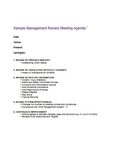 sample management review meeting agenda