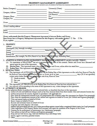 sample property management agreement