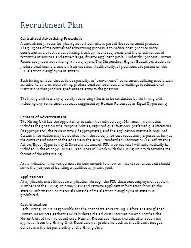 sample recruitment plan