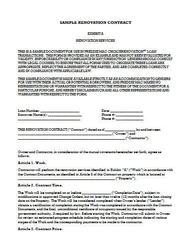sample renovation contract