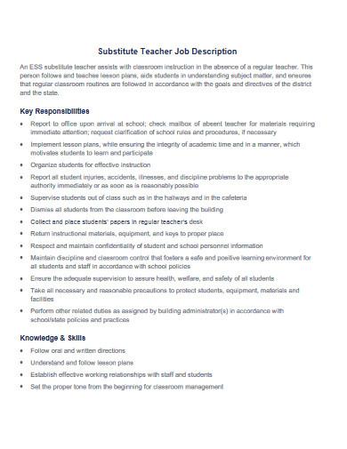 sample substitute teacher job description