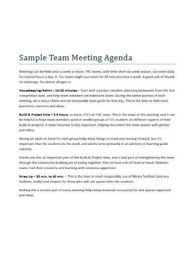 sample team meeting agenda