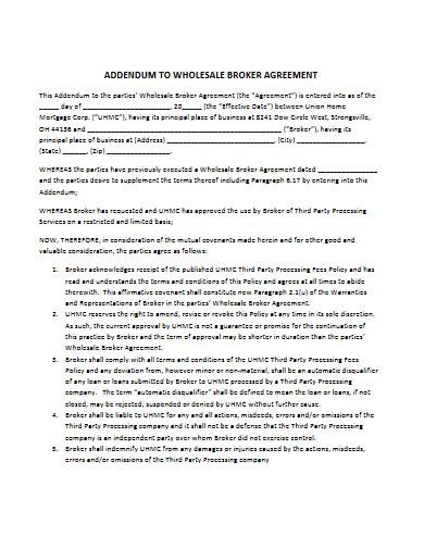 sample wholesale broker agreement
