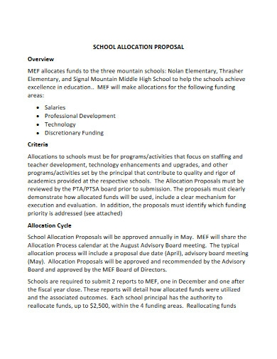 school allocation proposal template