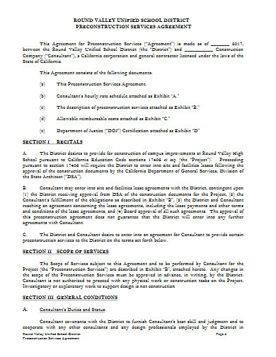 school pre construction services agreement