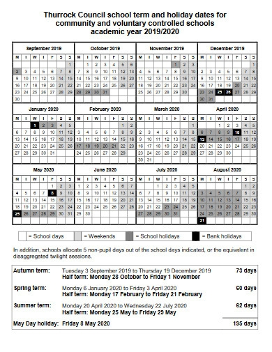 school term and holiday calendar