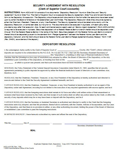 security agreement with resolution