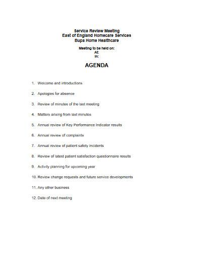 service review agenda