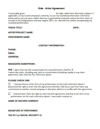 side artist agreement