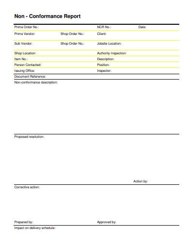simple non conformance report
