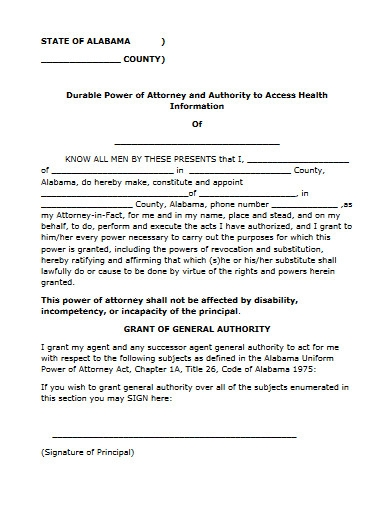 simple power of attorney form