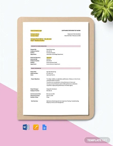 software statement of work template