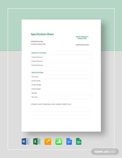 spec sheet template