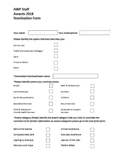 staff awards nomination form