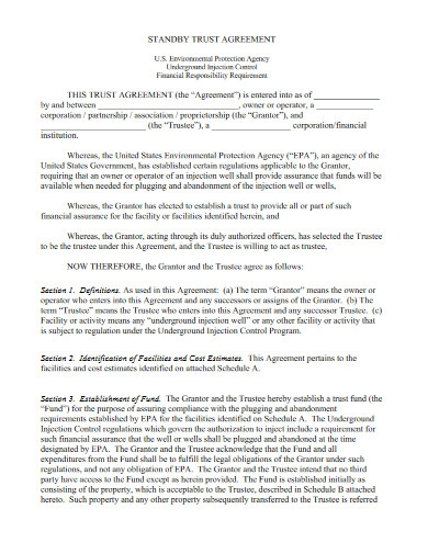 standby trust agreement template