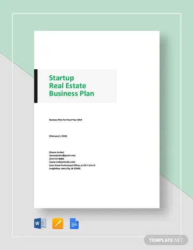 start up real estate business plan template