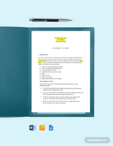 statement of work for web development template