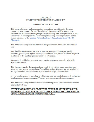 statutory power of attorney form