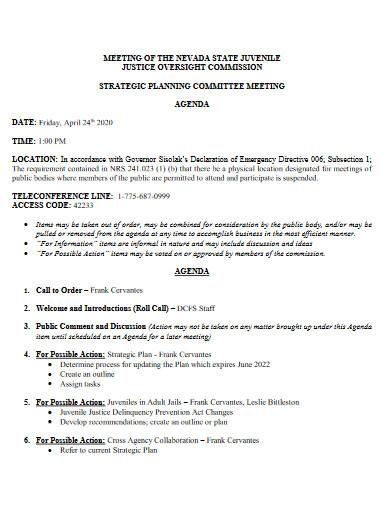 strategic planning committee meeting agenda