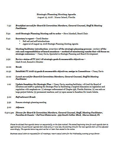 strategic planning meeting agenda example