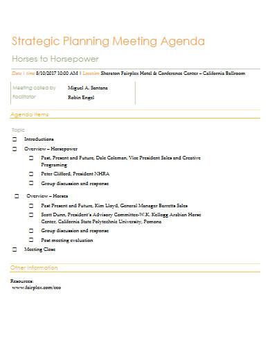 strategic planning meeting agenda in pdf