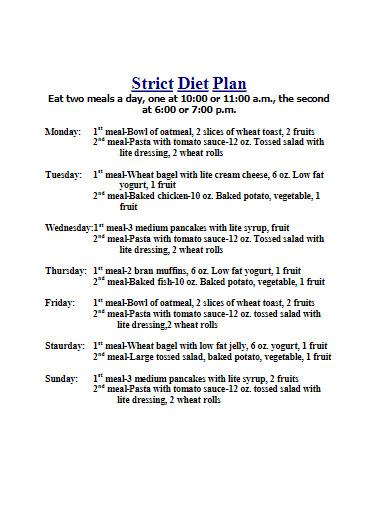 strict diet plan