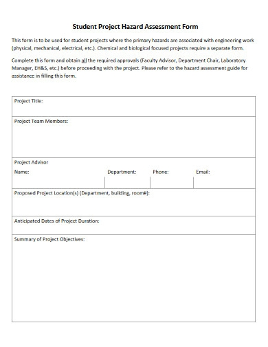 student project hazard assessment form