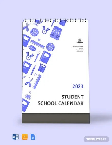 student school desk calendar template