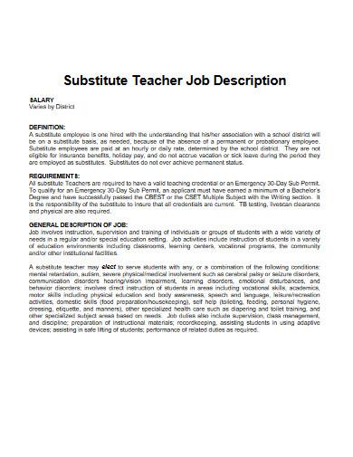 substitute school teacher job description
