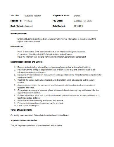 substitute teacher job description example