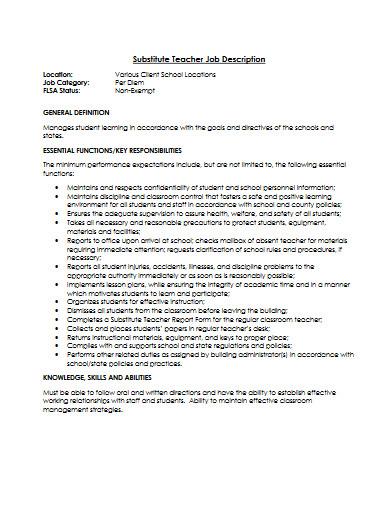 substitute teacher job description template