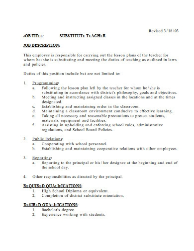 substitute teacher job description in pdf