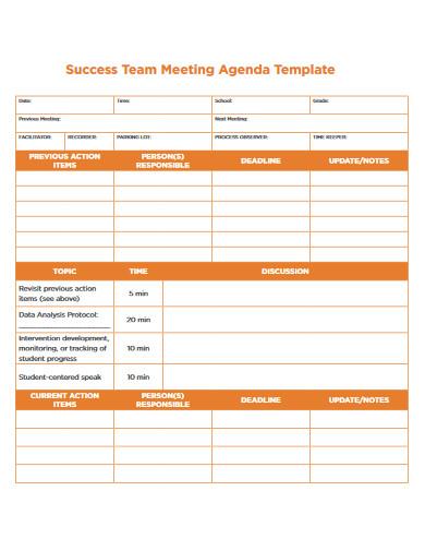 success team meeting agenda template