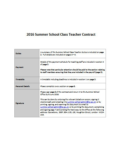 summer school class teacher contract