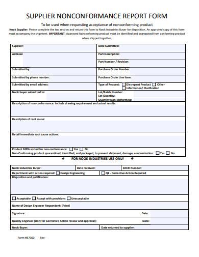 supplier non conformance report form