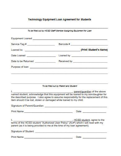 technology equipment loan agreement