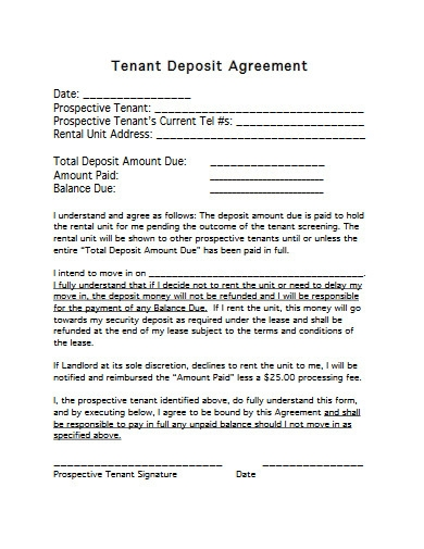 tenant deposit agreement