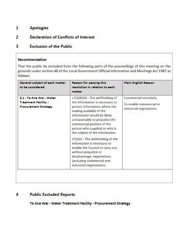 tenders committee meeting agenda