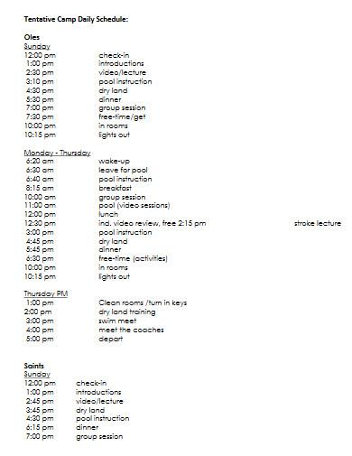 tentative camp daily schedule