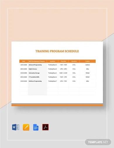training program schedule template