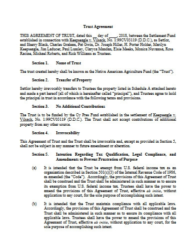 trust agreement example