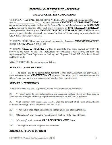 trust fund agreement template