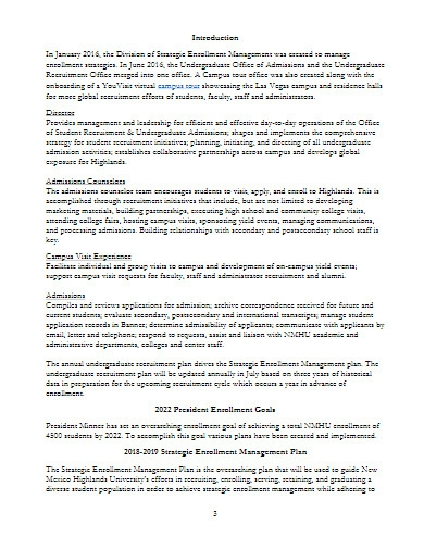 undergraduate recruitment plan