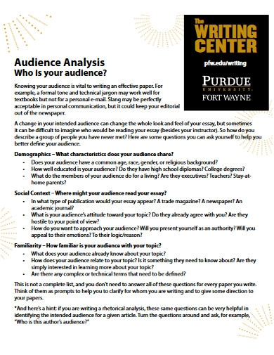 university audience analysis