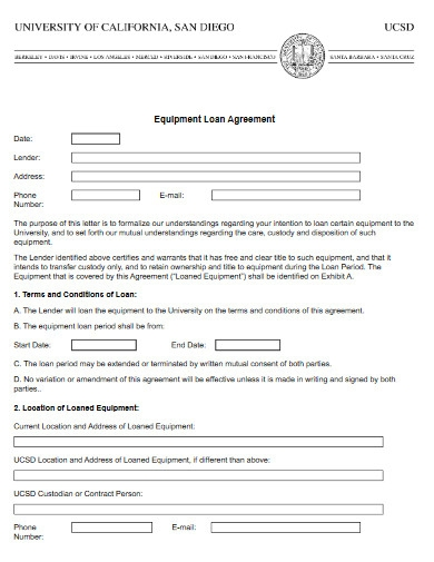university equipment loan agreement