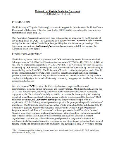 university resolution agreement