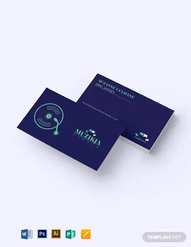 vinyl dj business card template