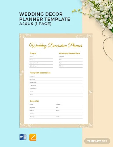 wedding decor planner template