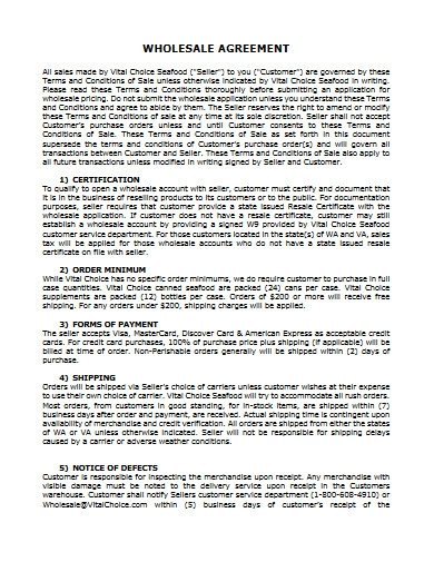 wholesale agreement example