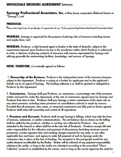 wholesale broker agreement